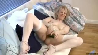 Horny granny cucumber pussy penetration Blowjob anal