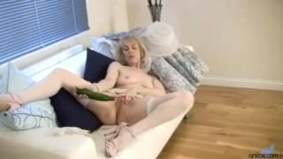 Horny granny cucumber pussy penetration Masturbating dick