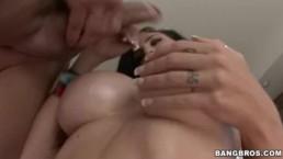 Big Tit Green Eyed Beauty Strips & Sucks Cock