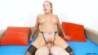 Mature cougar sucking stiff young cock