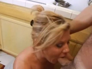 Hardcore housewife rides cock in kitchen