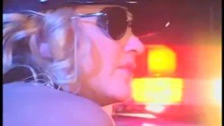 Hot blonde female cop in uniform and latex gloves fucking
