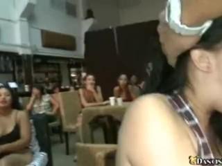 Brunette Gobbles Down Huge Cock In Club