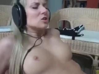 Wild Erotic Parties Blonde Wearing Headphones While Having Sex, Blonde Fetish