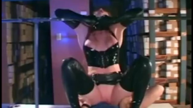 Police uniform lingerie Redhead in a cop uniform and latex gloves and corset fucking