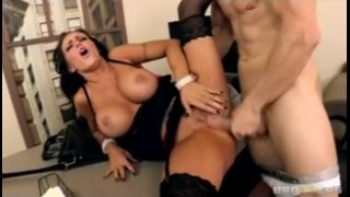 BIG TIT & ASS Squirting brunette boss is fucked hard in wet pussy Butt groupsex