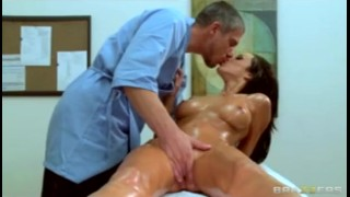 Busty brunette babe massaged then fucked hard by big dick at work