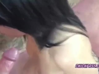 Petite Cristal on her knees and blowing a geek