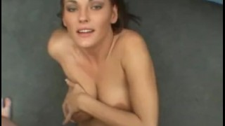 Stunning beauty sucks cock and gives great titjob