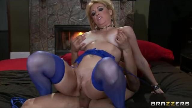 Horny big-tit blonde MILF slut fucks her daughter's bf's hard-dick