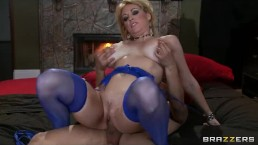 Horny big-tit blonde MILF slut fucks her daughter's bf's hard-dick