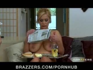 Big-tit blonde pornstar shyla stylez fucked in threesome with maid