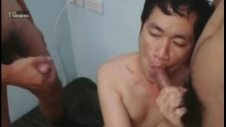 Threesome in asian military a jerking twinks