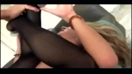 Roxy sex in thigh high fishnet