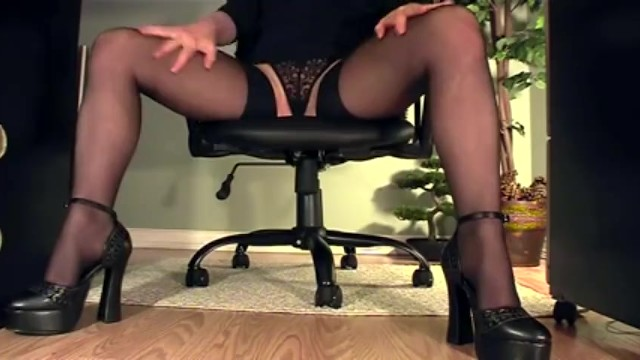 Naked plaid skirt under Secretary under desk view of masturbation in heels and stockings