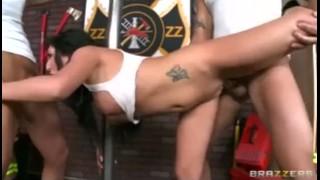 Big tit brunette slut in firefighter uniform fucked in threesome