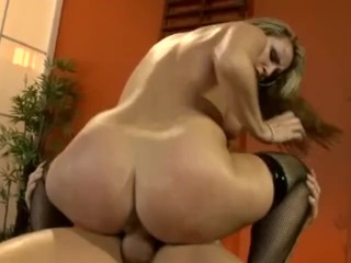 Busty blonde fucking and deepthroating in thigh high fishnets