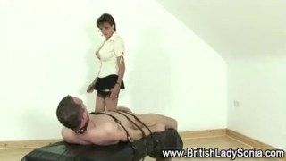 Femdom mature Lady Sonia gives handjob  handjob bigtits mature european stockings fake tits handy ladysonia huge tits british femdom fetish