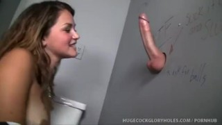 Hottie Gets Facial By Sucking Strangers Cock In Glory Hole  handjob brunette petite fingering natural tits blow job surprise cumshot small tits gloryhole jizz