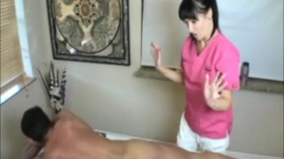 Massage therapist says fuck to rubbing his body and yes to jerkin Blowjob facial