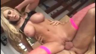 Big boobed blonde fucked in pink thigh high fencenet stockings Blow cumshot