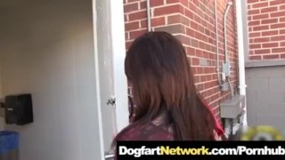 Fucked in a Public Bathroom Gloryhole by A Huge Black Cock  interracial brunette dogfartnetwork.com public sex monster cock big cock bbc tattoo small tits gloryhole pornstar