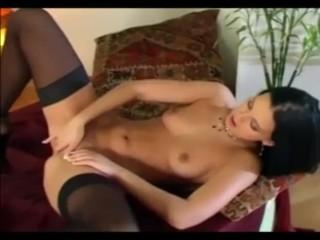 Babe masturbates in panties a bra and stockings