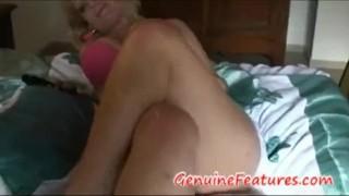 Real blond BBW masturbates with dildo