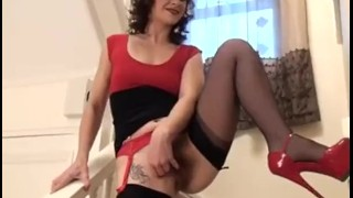 Up dressed chrissie all girl is like a glamour stockings breasts
