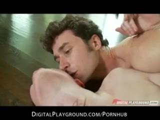 Slutty brunette babe Stoya rips her fishnets for rough anal sex