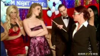Three big-tit blonde highschool sluts start orgy at prom party Student and