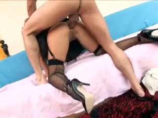 Busty blonde in a cops uniform heels and fishnet stockings fuckin