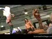 Nasty babes teasing a horny guy form the public on stage