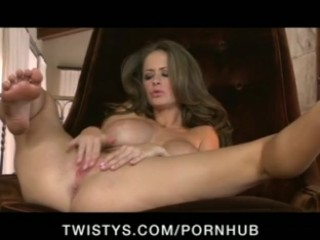 Real Amateur Cock Horny big - tit brunette slut in lingerie rubs wet pussy to orgasm