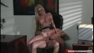 Big-tit blonde escort Riley Steele fucks executive in his office