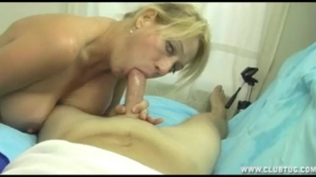 Teacher catches her student and gives him a wet blowjob