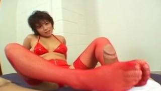 Kinky Mai Haruna tit job and foot job!