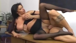 Ripped up crotchless pantyhose in black fucking desk bras