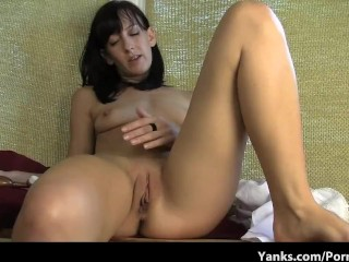 Thin brunette with small tits rubs her pussy raw