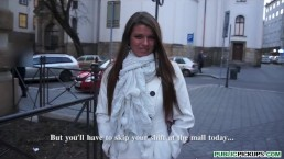 Beautiful big-tit brunette babe is fucked in public before work