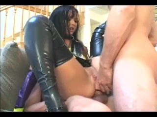 fucking and getting dped in latex stockings a corset and gloves