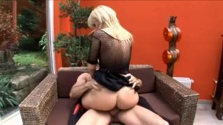 Blonde milf with bigtits fucking wearing black thigh high stockin