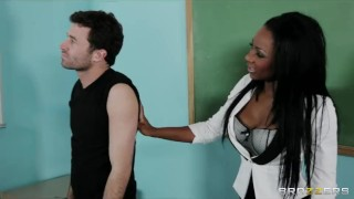 Sexy busty Ebony teacher Persia Black fucks her school student Doggy view