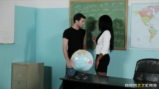 Sexy busty Ebony teacher Persia Black fucks her school student Fake hardcore