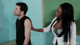 Sexy busty Ebony teacher Persia Black fucks her school student