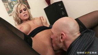 Big-tit slutty secretary Darcy Tyler fucks boss to keep her job