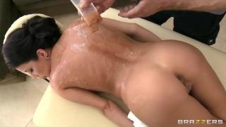 Slutty brunette babe Aleksa Nicole fucks her masseur's big-dick