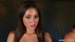 Hot & mean lesbians fuck redhead stripper with a big strap-on