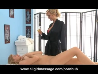 Molly Bennet and Brett Rossi Lesbian Massage