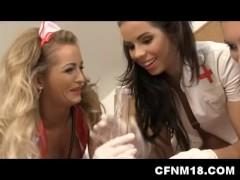 Four agressive nurses control and pump a guy's cock at CFNM medex